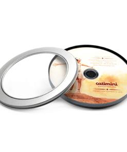 Boite metallique cylindre transparent